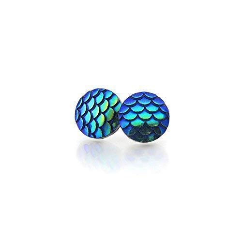 - Mermaid Scale Stud Earrings on Plastic Posts, 12mm Teal Blue Color Change