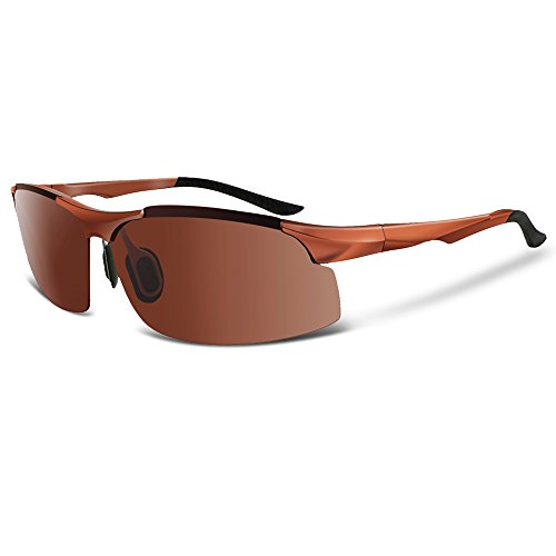 COSVER 8003 Men's Sports Style Polarized Sunglasses for Driving Fishing Golf Glasses (Brown, - Sun Golf Glasses