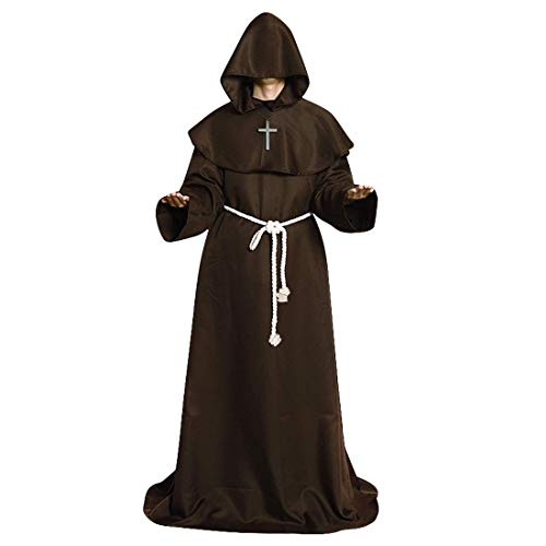 Wgior Friar Medieval Hooded Monk Renaissance Priest Robe Halloween Costume Cosplay Cloak Outfit (M, -