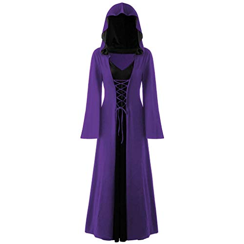GREFER Plus Size Halloween Costumes for Women Vintage Lace Up Maxi Dress Fashion Patchwork Hooded Long Dress Purple