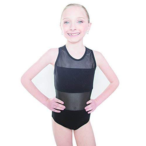HDW若い女の子ダンスメッシュホルターネックバレエダンスレオタードコットンスパンデックス B06XGW6NYT ブラック M