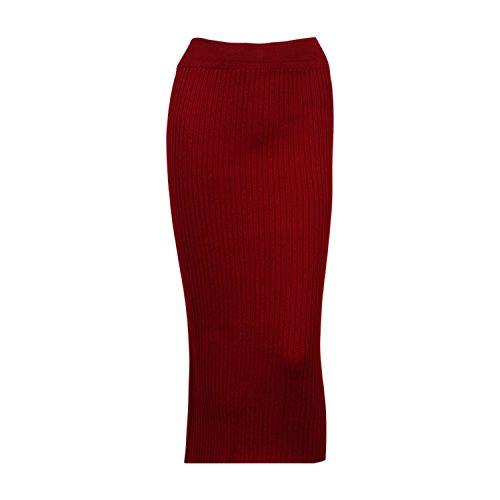 (Pencil Skirts Women Bodycon Skirt Wool Rib Knitted Long Skirt Back Split Midi Skirt Wine red One Size)