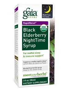 Price comparison product image Black Elderberry,  NightTime Syrup 3 oz by Gaia Herbs (Pack of 6)