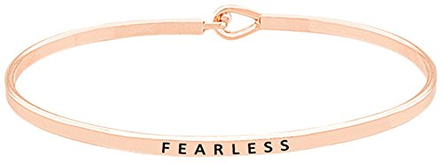 Glamour Girl Gifts Collection Inspirational Fearless Engraved Thin Brass Bangle Hook Bracelet for Best Friends, BFF Besties (Rose Gold Tone)