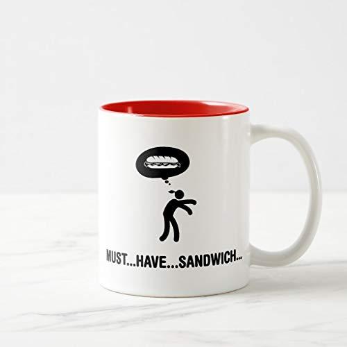 (Zazzle Sandwich Lover Coffee Mug, Red Two-Tone Mug 11 oz)