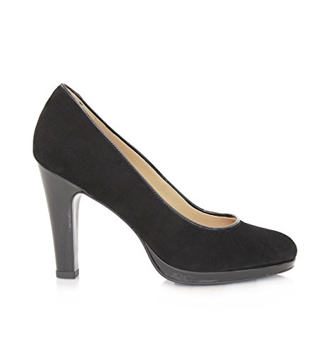 Pump Black Women's Schwarz schwarzem 7 Square Wildleder 9cm Heels Size Lackleder Diamond MIT Pumps Absatz P7TAPwq