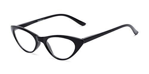 Readers.com Fully Magnified Reading Glasses: The Brit, Stylish Women's Cat Eye Full Frame Reader - Black, 1.00 -
