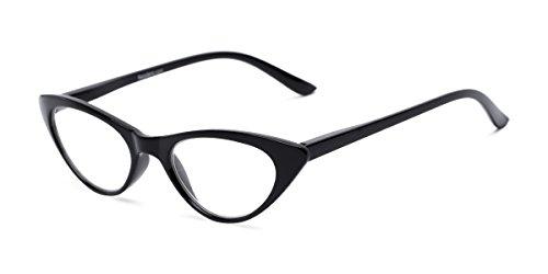 Readers.com Fully Magnified Reading Glasses: The Brit, Stylish Women's Cat Eye Full Frame Reader - Black, 1.75