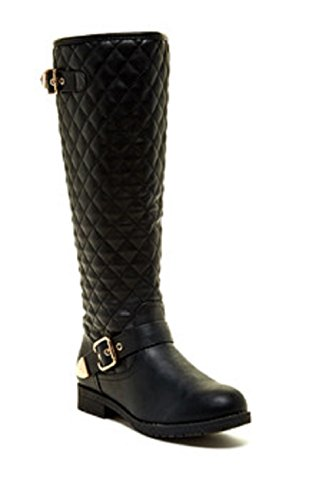 Top Moda Dish-2 Women's round toe side zipper quilted shaft golden buckled straps decor knee high PU boots Black 8