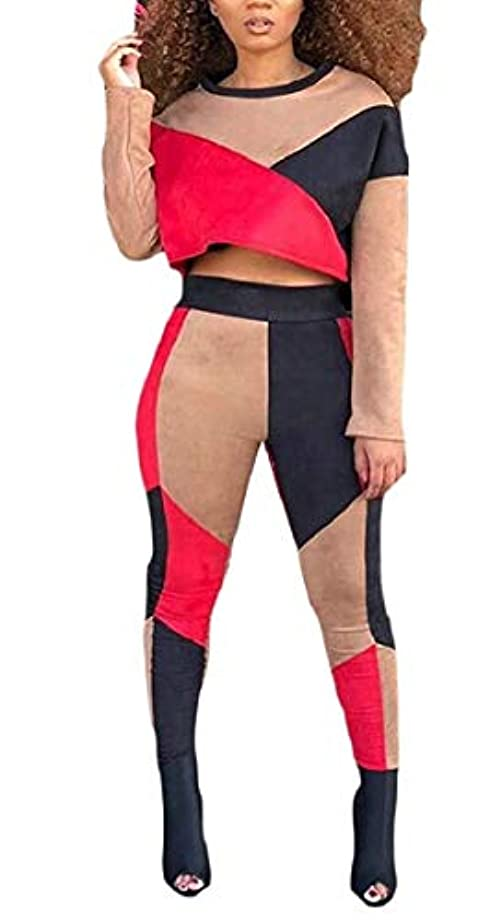 類似性腹前述のmaweisong 女性カラーブロッククロップトップスとログパンツジョギング2ピーストラックスーツ 2 XX-Large