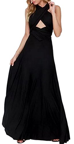 Black Silk Mini Dress - Sexyshine Women's Infinity Backless Gown Dress Multi-Way Wrap Halter Cocktail Dress Bandage Bridesmaid Long Dress (BL,XL)