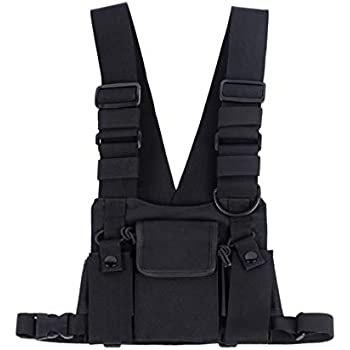 8e621dc4ece0f5 Saigain Universal Hands Free Radio Vest Chest Rig Harness Bag Holster for  Two Way Radio (