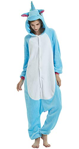 Halloween Unisex-Adult Blue Unicorn Pajamas Christmas Onepiece Cosplay Costume Animal Outfit Blue Unicorn L ()