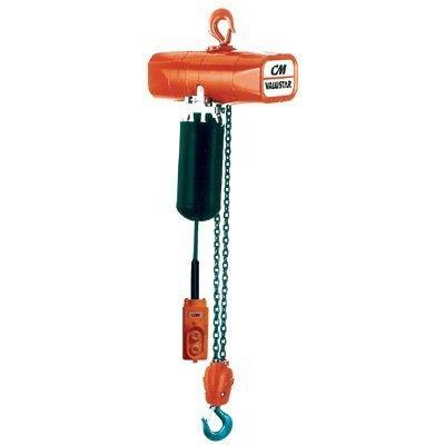 CM Valuestar Electric Chain Hoist, Single Phase, Hook Mount, 1 Ton Capacity, 10' Lift, 8 fpm Max Lift Speed, 1-1/8