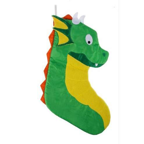 Dragon Mythical Festive Green 20 x 7 Polyester Fabric Christmas Stocking