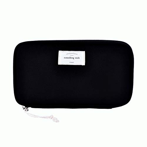 - iSuperb Large Capacity Waterproof Oxford Pencil Case Stationery Pencil Pouch Bag Case Cosmetic Makeup Bag Passport Organizer Bag 8.5x4.5inch (Black)