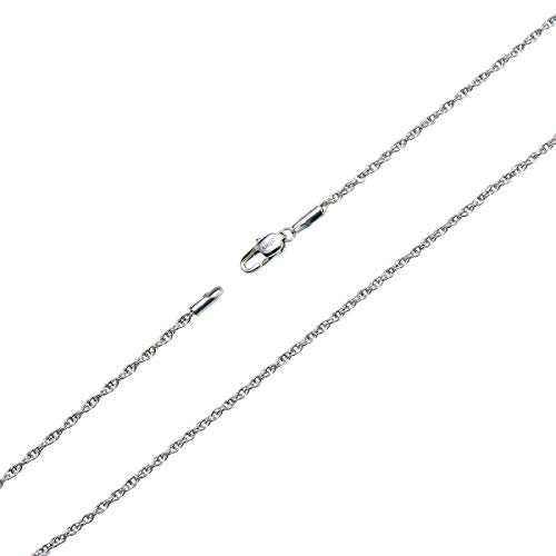 AmyRT Silver Twist Rope Chain Necklace, 2mm Titanium Steel Womens Mens Chain Necklace 18 Inch