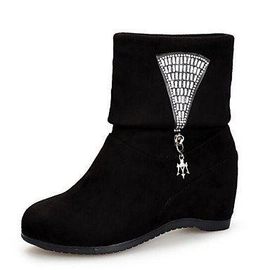 Botas Moda Tobillo Invierno Botines RTRY Planas Nubuck Botas Tacón Forro De EU36 Cuero Y US6 De Negro UK4 CN36 Botas Casual De Pelusas Zapatos Pu Mujer For Rojo vUwUqPt