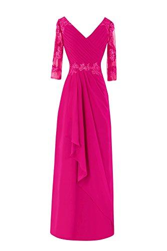 Fuchsia Chiffon Zipper (Dasior Women's V Neck Appliqued 3/4 Sleeve Chiffon Long Evening Dress US18W Fuchsia)