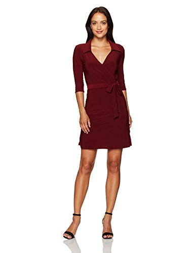 Petite Solid Star Women's 3 Vixen Fauxwrap Dress Sleeve 4 Burgundy pzRqExz