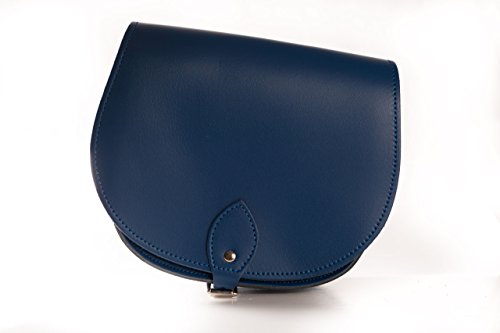 And Adjustable Saddle Body Real Navy With Strap Leather Handbag Buckle Blue Closure Cross X6n6xqPHv