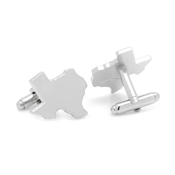 Silver-Texas-State-Shape-Cuff-Links-by-Cufflinks-Inc
