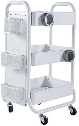 MM ラックカート、ロックキャスター付きの錬鉄製のモダンなミニマリスト家庭用ベビーカー、2色で入手可能 サービスカー (Color : White)