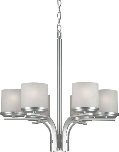 """Forte Lighting 2424-06-55 Chandelier With White Linen Glass Shades, 24"""" x 22"""" x 24"""", Brushed Nickel"""