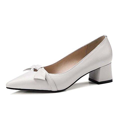 Zapatos de Punta Estrecha para Mujer Zapatos de Tacón Alto con Estilo y Cómodos Negro/Blanco Talla 34-39 (Color : Blanco, Tamaño : 36)