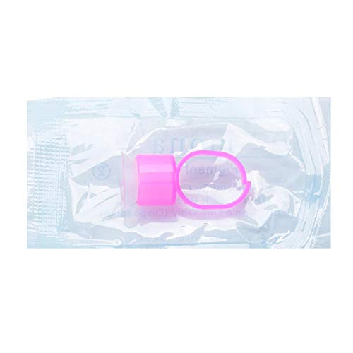 Tattoo Ink Ring Cup Holder with Sponge Cosmetic Permanent Makeup Tattoo Accessories(Pack of 10, Pink Ring, White Cup)