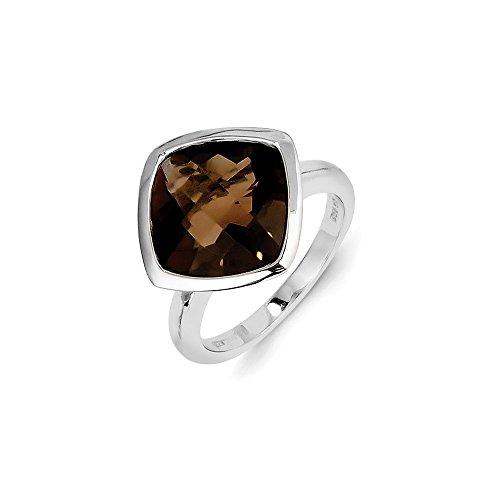 Sterling Silver Smokey Quartz Ring (Sterling Silver Smokey Simulated Quartz Ring - Size 8)
