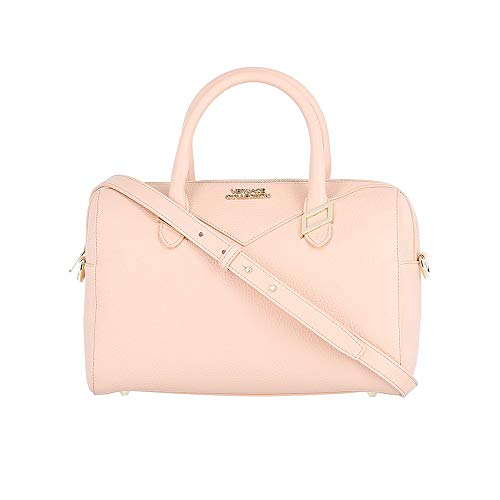 Versace Collection Pebbled Leather Top Handle Satchel Handbag Pink BHFO ()