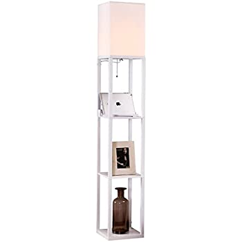 Brightech – Maxwell USB Shelf Floor Lamp – Mood Lighting for your Living Room and Bedroom – Shade Diffused Light Source with Open-Box Shelves – Orchid White