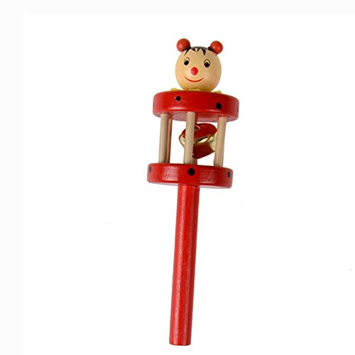 Armfer Toys Kids Handle Wooden Bells Jingle Stick Colorful Musical Instrument Tone Toy Shaker Rattle Develop Auditory System Promote Brain Development for 10 Months and up Children