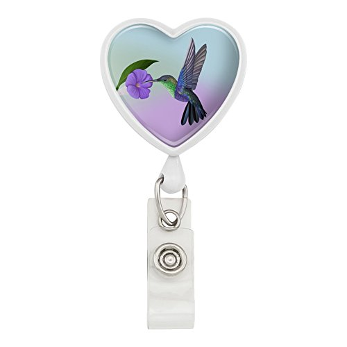 Hummingbird Crowned Woodnymph Purple Violet Heart Lanyard Retractable Reel Badge ID Card Holder - White