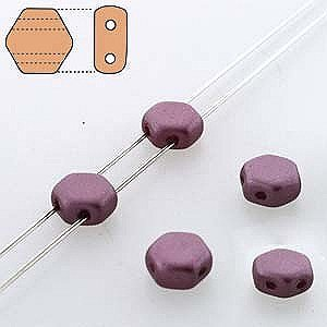 Czech Glass Honeycomb Beads, 2-Hole Hexagon 6mm, 30 Pieces, Pastel Burgandy
