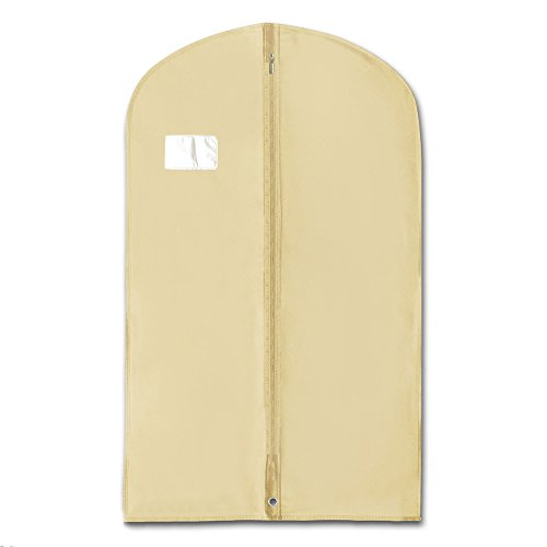 HANGERWORLD 5 Ivory 40inch Breathable Suit Coat Garment Clothes Carry Cover Protector Bags