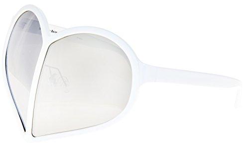 LINDA FARROW Walter Van Beirendonck White Silver Mirror Heart WVB/5/1 Polarized - White Sunglasses Walter