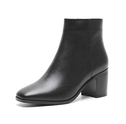 Winter Chunky Heels 7cm Ankle Boots Shoes Leather White Mati