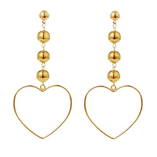Women Gold Tone Ball Heart Earrings Dangle Hollow Studs Night Club Jewelry Necklace Jewelry Crafting Key Chain Bracelet Pendants Accessories Best (Polar Jade Earrings)