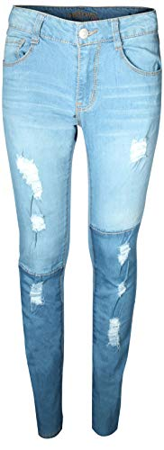WallFlower Girl's Skinny Soft Stretch Jeans with Rips and Tears, Two Tone Medium/Light Wash ()