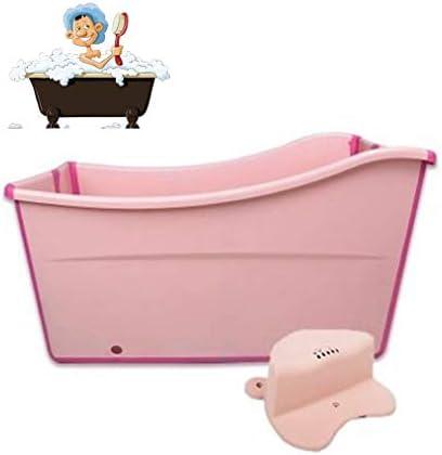 折りたたみバスタブ GYF 大人の折りたたみ浴槽プラスチックベビースイミングプール子供風呂バレル家庭用大型ポータブル浴槽 98x42x57cmベビー用 バスタブ (Color : Pink)