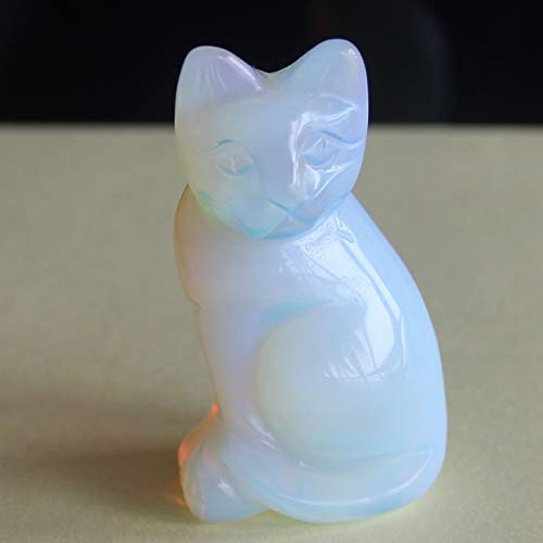 2'' Hand Carved Mixed gemstom cat Figurine Animal Carving (White opalite)