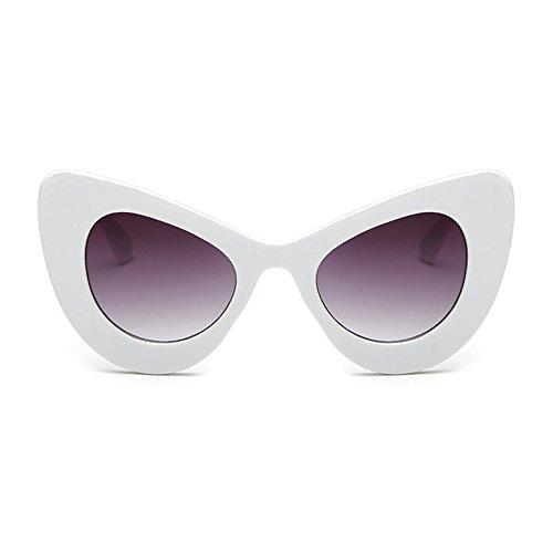 Cat Oversized Eye Gafas Gris Blanco Bold Retro Rim sol de Cateye Round Womens Eyewear Yefree qwTxFf5F