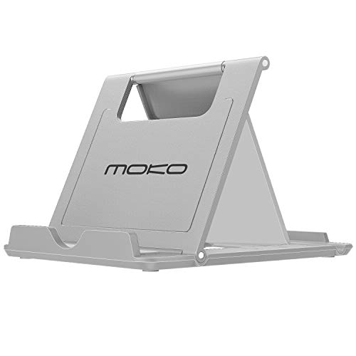 MoKo Cellphone/Tablet Stand, Foldable Multi-Angle Desktop Holder for Devices(6-11), Fit iPhone Xs/XS Max/XR/X/8 Plus/8, Galaxy S9/S9 Plus/Note9, iPad Pro 11 2018, Nintendo Switch, Gray