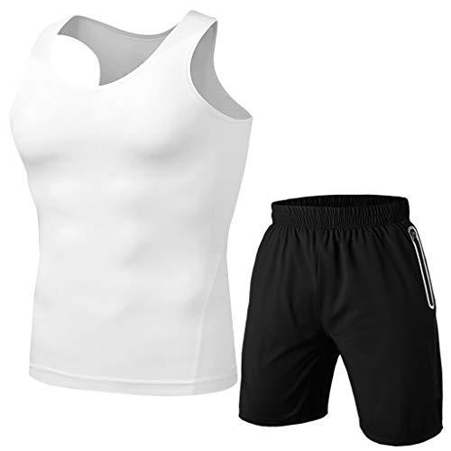 Outique Men's Sportswear Set, Fitness Sweat-Absorbing Breathable Breathable Cycling Tops Trousers Sports Suit Quick Dry White ()