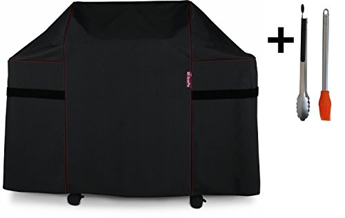 BBQ Coverpro 82836 Heavy Duty Grill Cover for Weber Summit 400-Series Gas Grills (Compared to the Weber 7108 Grill Cover) Including Basting Brush and Tongs