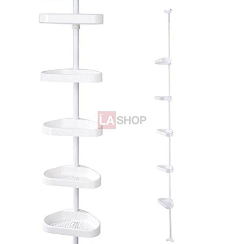 5-Tier White Plastic Tension Bathroom Toilet Corner Shelf Bath Shower Caddy Pole Storage Rack Tower Organizer ()