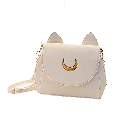 Black Crossbody Kawaii White Women Messenger Samantha Bag Shoulder Cat Sailor Satchel Vega Shape Moon Chain Cute Leather Yarbar qfOBxwagO