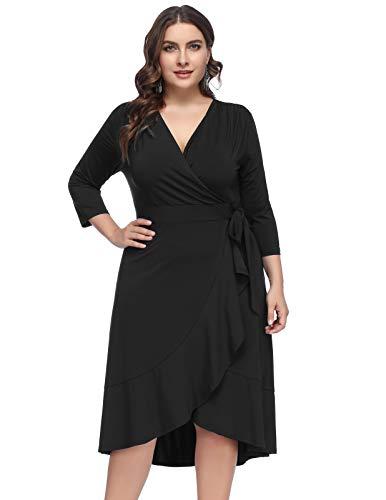 Hanna Nikole Women's 3/4 Sleeve Flounce Hem Wrap Cocktail Dress Plus 16W Black